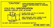 Macs Auto Parts 1977-1986 Ford Pickup Truck Coolant Caution Decal 48-47589-1