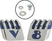 Macs Auto Parts Hood Emblems - V And 8 - Front - Die Cast - Chrome - Ford Pickup