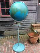 Vintage Large Nystrom Military Globe On Adjustable Stand W/ Wheels - Very Good