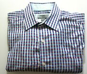 Johnson And Murphy Mens Large Multi-color Plaid Dress Shirt Contrast Cuff Tailored