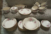 Antique 22k Gold Limoges Wild Rose Set Of Dishes Nearly Complete Service For 12