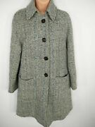 Womens Stile Benetton Size Uk 14 Blue Mix Wool Button Up Collared Smart Overcoat