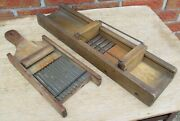 Two Antique Wooden Vegetable Kraut Slide Cutter Slicer - T And D And Catawissa