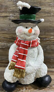 Singing Ceramic Christmas Snowman Nose Lights Up Plays Jingle Bells 12andrdquo Tall
