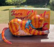 Vtg Tin Litho Turn Over Cat Wind Up Toy W/ Key And Box Japan Works Modern Toys