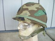 Us M1 Helmet Post-vietnam Cold War W/ Woodland Cover And Liner 1980s