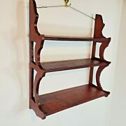 Vintage Wood Wall Shelf Display Shelves 3 Tier Scalloped Wooden Old Solid Wood