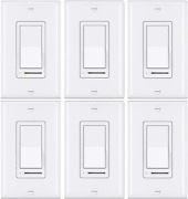 [6 Pack] Bestten Rocker Dimmer Switch For Dimmable Led, Halogen And Incandescent