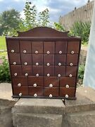 Vintage Wood Steel Apothecary Spice Cabinet 26 Drawer Porcelain Knobs Store
