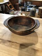 Antique - Primitive Hand Carved Wooden Bowl With Handles And Original Paint