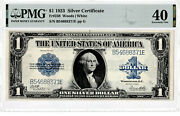 1 1923 Silver Certificate Horse Blanket Large Blue Seal One Dollar Note Pmg 40