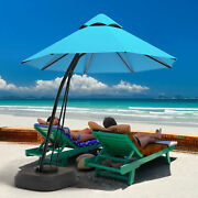 11ft Patio Cantilever Hand Push Offset Hanging Umbrella W/ Wheels Base Turquoise