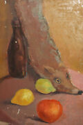 Vintage Oil Painting Still Life With Fruits, Fox Scarf And Bottle