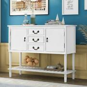 Console Table Wood Entryway Side Accent 3 Drawers 2 Cabinets Storage Desk White