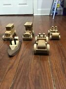 Vintage Wooden Toy Cars And Trucks Wood Toy Lot Automobiles Boat Hand Made