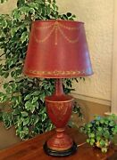 Extraordinary Chelsea House Hand Painted Tole Burgundy And Gold Metal Lamp