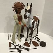 Johnny West Geronimo On Storm Cloud Horse With Accessories Vintage Marx Botw