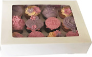 Mass Dynamic White Cupcake Boxes - Cupcakes Carrier With 12 Holes/cavity Inserts