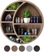 Crescent Moon Shelf Wall Decor - Rustic Wooden Moon Shelf For Crystals Stones And