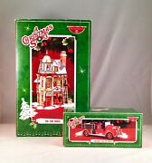Dept 56 Lot Of 2 A Christmas Story Fire Truck + The Fire House Snow Village New