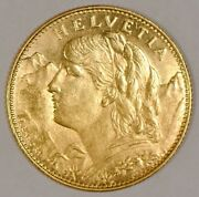 Hard To Find 1916 Switzerland 10 Francs Helvetia Gold Coin Scarce