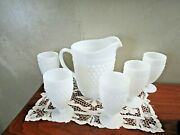Anchor Hocking Milk Glass Hobnail 65 Oz Pitcher And 5 Water Goblets10 Oz
