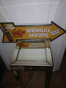 Wonderful Golden Girl Cola Sold Here Arrow Pointing Metal Sign
