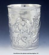 Antique 1778 Russian 18th Century Silver Hand Chased Repousse Beaker Cup/mug