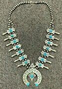 Donovan Cadman Navajo Sterling Silver Squash Blossom Necklace And Earrings Turq.