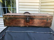 Antique Schartow Iron Products Racine, Wi Iron Workers Wood Tool Chest Box