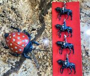 Rare 1911 Gunthermann's Tin Litho Wind Up Toy Ladybug And Cast Soldiers On Horses