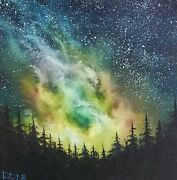Bob Ross Style Original Oil Painting Milky Way View On 12x12 Canvas