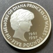 1997 Diana Princess Of Wales Silver Proof Memorial Coin 5 Pounds With Coa