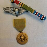 Ww2 Balloon Pilot Badge + Ribbons + Woman Air Corp Medal --see Store Ww2 Medals
