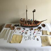 Vintage Playmobil Pirate Ship Set Lot Action Figures And Accessories