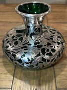 Alvin Vase Antique Art Nouveau American Green And Silver Overlay G3330 Sterling
