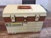 Vintage Plano Plastic Tackle Box Usa 757 4-drawer Fishing Lures Arts And Crafts