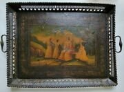Antique 1836 French Lacquered Tray Painting On Board Or Leather Or Papier Mache