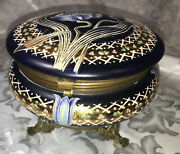 Antique Moser Opaline Glass Jewelry Dresser Box Blue White Gold Floral Paw Feet