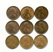 Lot Of Nine 1909p Vdb Lincoln Cents Extremely Fine To Red Uncirculated Lot9