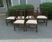 Baker Furniture Set 6 Chippendale Style Chairs