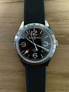 Bell And Ross Br 123 Gmt 24h 100m Menand039s Br123-93-sp 42mm Automatic W/ Great Straps