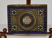 Exquisite Antique French Brass Jeweled 3 Graces Cameo Casket Trinket Vanity Box