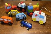 Lot Of 8 Wooden Toy Cars And Trucks Vilac-i'm-plan-melissa And Doug