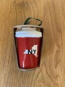 Starbucks New York Local State Christmas Ornament Ceramic Red Hot Cup Style