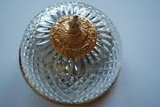 Beautiful Vintage Italy Gold Flush Mount Glass Ceiling 2-light Fixture Very Nice