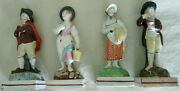 ++++rare Early Staffordshire Square Based Figures The Four Seasons C.1790-1810