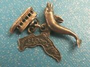 Rare Vtg Sterling Silver Florida Glass Bottom Boat + Dolphin + Map Travel Charms