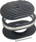Macs Auto Parts 12 Oval Finned Aluminum Air Cleaner Assembly With Black Finish
