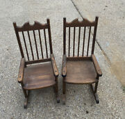 Two Antique Wooden Miniture Rocking Chairs